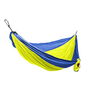 grand trunk double parachute nylon hammock with carabiners royal blue neon one size grand trunk double parachute nylon hammock with carabiners royal      rh   amazon ca