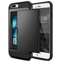 iPhone 7 Plus Case, Coolden Armor iPhone 7 Plus Wallet Case Protective Shockproof Case Soft Bumper Card Holder Wallet Case Cover for iPhone 7 Plus / iPhone 8 Plus Heavy Duty Hard Case (Black)