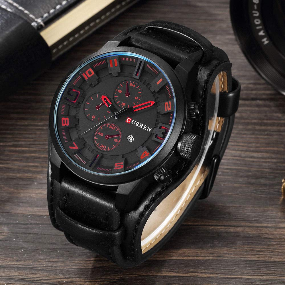 RONSHIN Mens Watches Fasion Army Military Quartz Luxury Leather Men Watch for Gifts B by RONSHIN