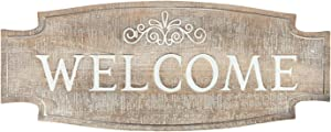 DeliDecor Large Welcome Sign Rustic Carved Wood Plaque Porch Decor, Vintage Farmhouse Front Door Decor Wall Hanging Signs Decoration Wall Art Housewarming Gifts, 23.6 x 9.5 inch