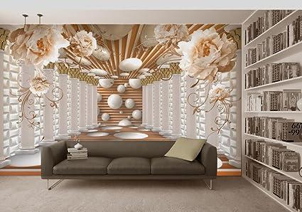 HHCYY Papel Pintado 3D Peony Flower Columna Romana Tv Wall Painting Inicio Papel Pintado Decorativo-
