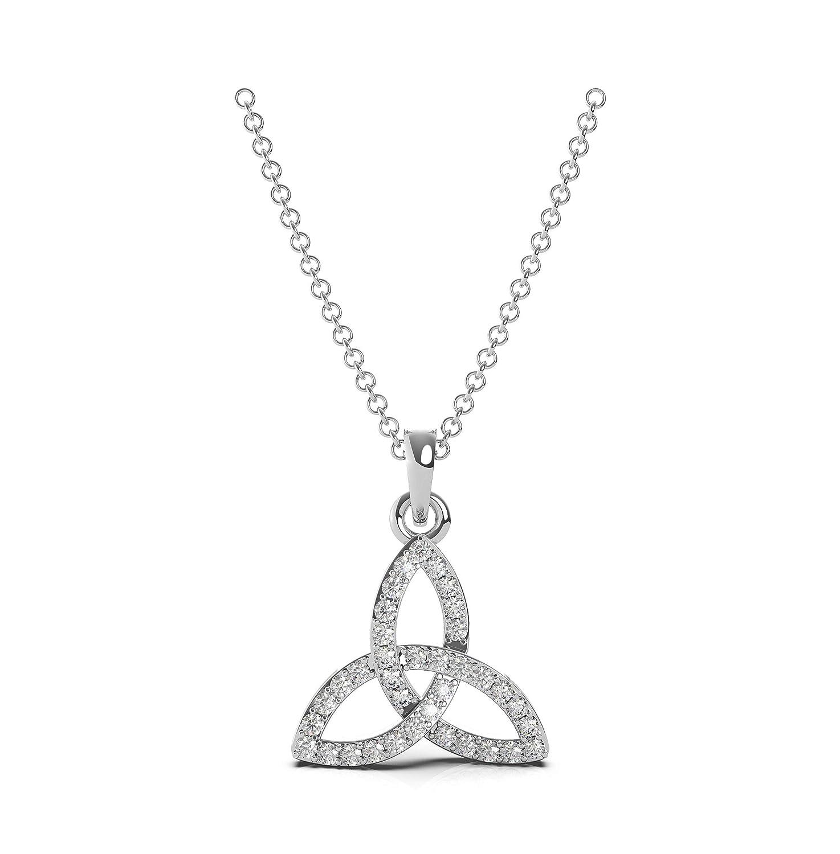 Frostrox Sterling Silver 0.24 Carat Round Cut Celtic Trinity Knot Diamond Pendant