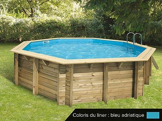 Piscina de madera azura 5.10x1.20m azul 7504559: Amazon.es: Jardín