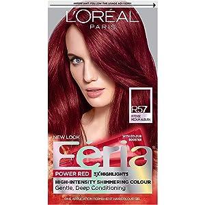 L'Oreal Paris Feria Multi-Faceted Shimmering Permanent Hair Color, R57 Cherry Crush (Intense Medium Auburn), Pack of 1, Hair Dye