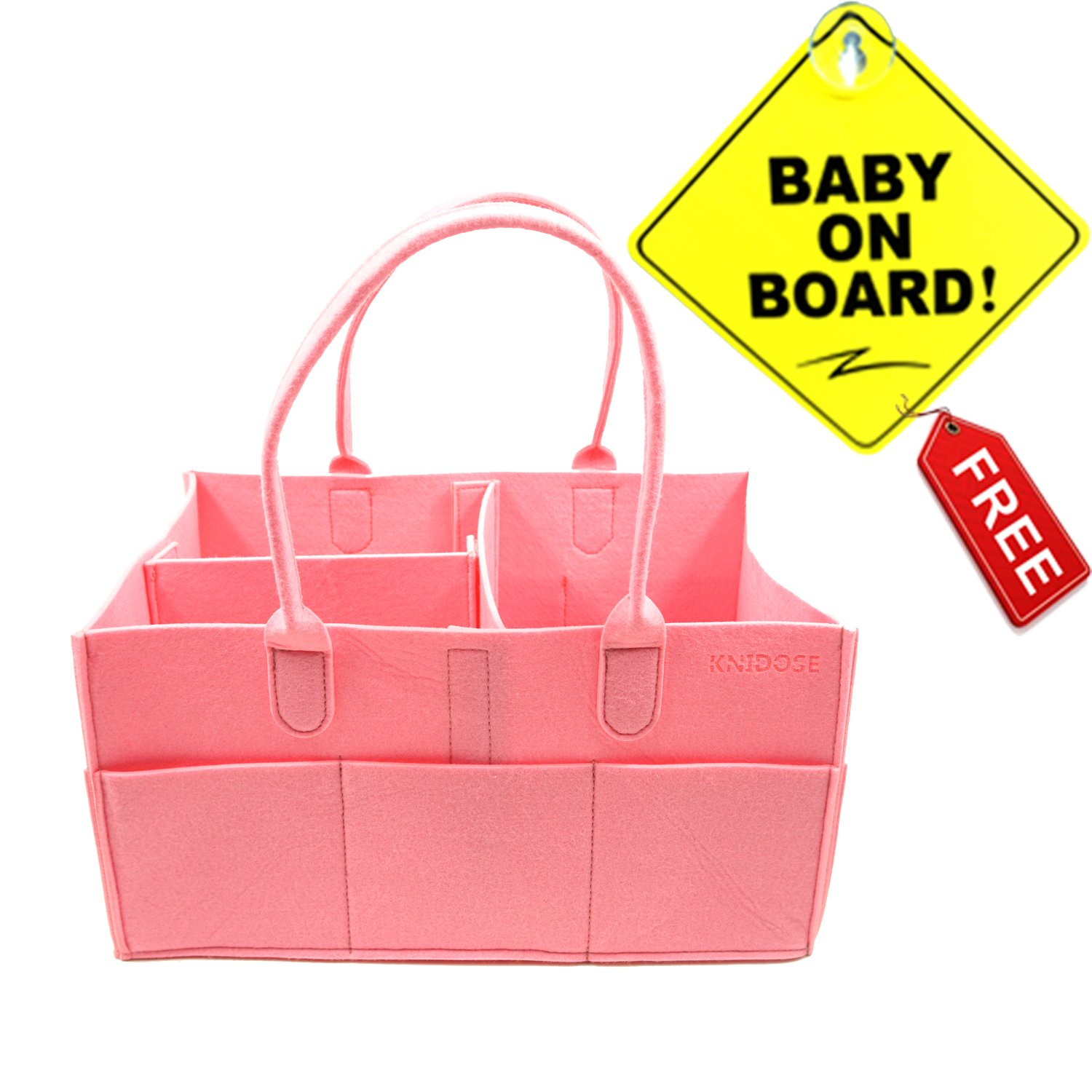 Baby Diaper Caddy Organizer Bag for Mom | Baby Shower Gift for Newborn | Portable Travel Nursery Storage for Boys & Girls | Baby On Board Sign with Suction Cup for Car (Pink)
