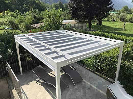 QEEQ.IT - Pérgola Blanca retráctil 4 x 3 - Estructura Antracita ...