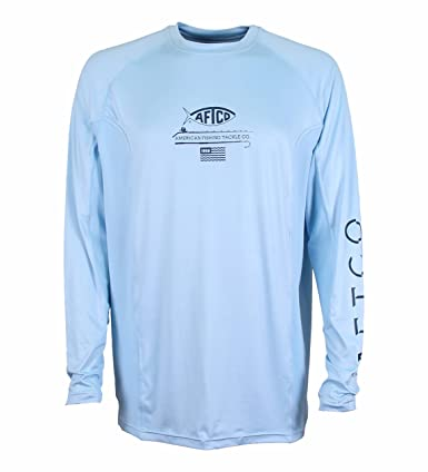 0c2cc87e3 Amazon.com: Aftco Barracuda Hood Geo Cool LS Sun Shirt Sky L: Clothing