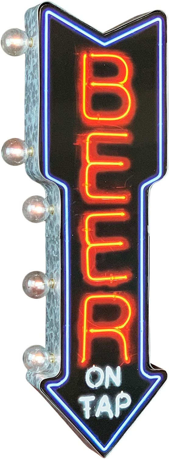 """Beer On Tap LED Sign, Wall Mounted Home Decor for Game Room, Bar, Garage, or Man Cave, Battery Operated Large Marquee Style LED Light Bulbs, 26"""" Double Sided and Arrow Shaped Retro Vintage Design"""
