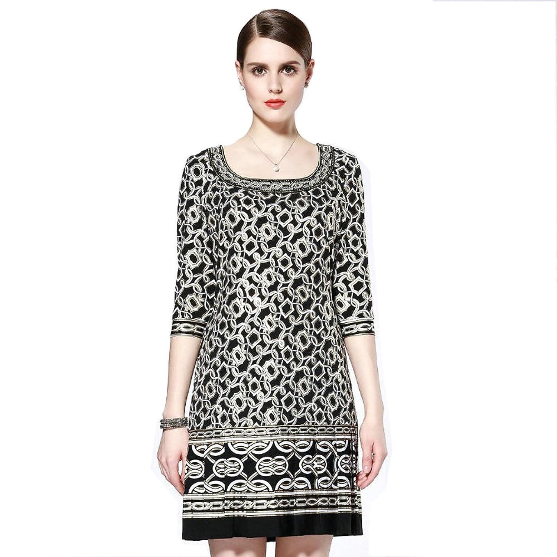 Newland Women's 3/4 Sleeve Loose Print Casual Dress US 12