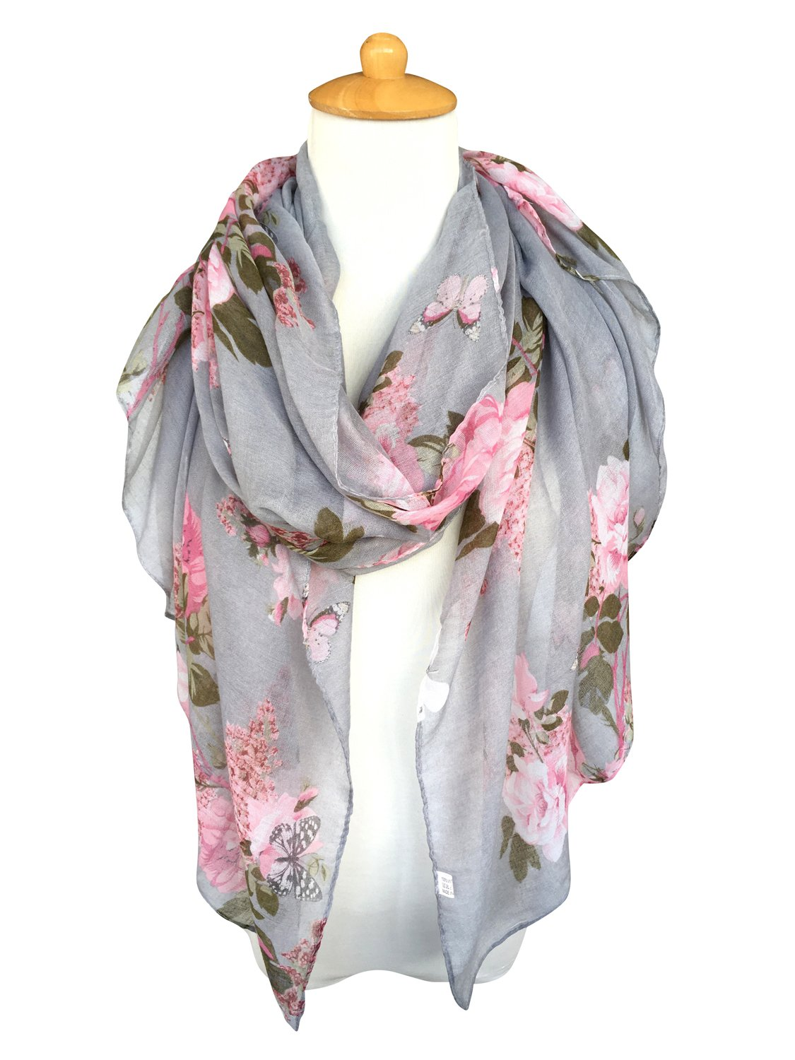 GERINLY Lightweight Shawl Scarf: Peony Print Beach Wrap For Hawaiian Vacation (Grey) by GERINLY (Image #2)