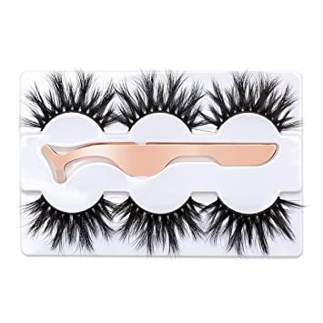 d76a73f54af Amazon.com : 3D Mink Eyelashes 25MM Fluffy False Eyelashes Dramatic Thick  Wispy Fake Eyelashes Handmade Long Soft Lashes with Tweezers Cruelty-Free  Reusable ...