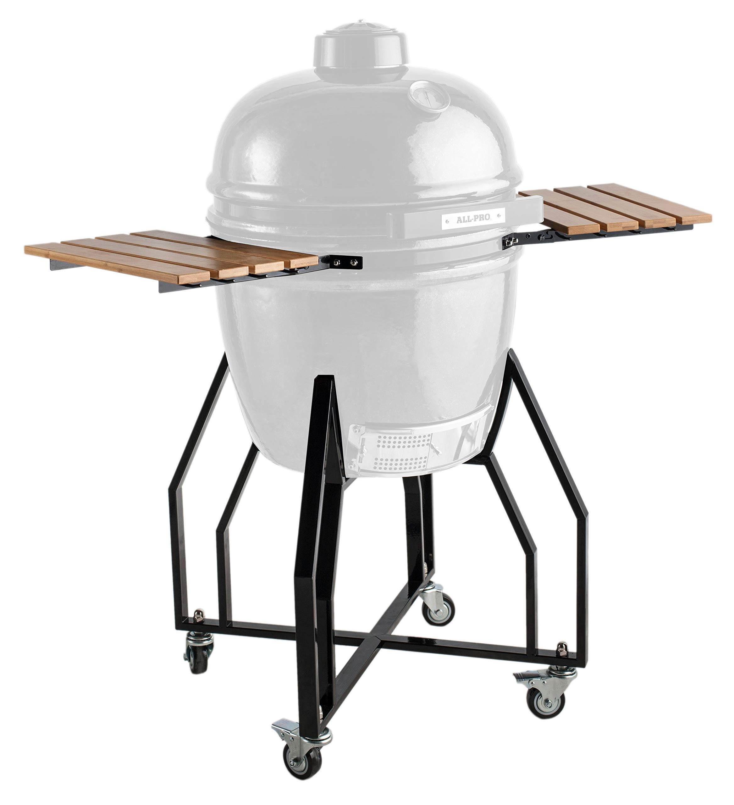 All Pro All KGA1920b Cart with Side Shelves and Black Powder Coated Trim-Fits 19'' Grill (Renewed) by All Pro