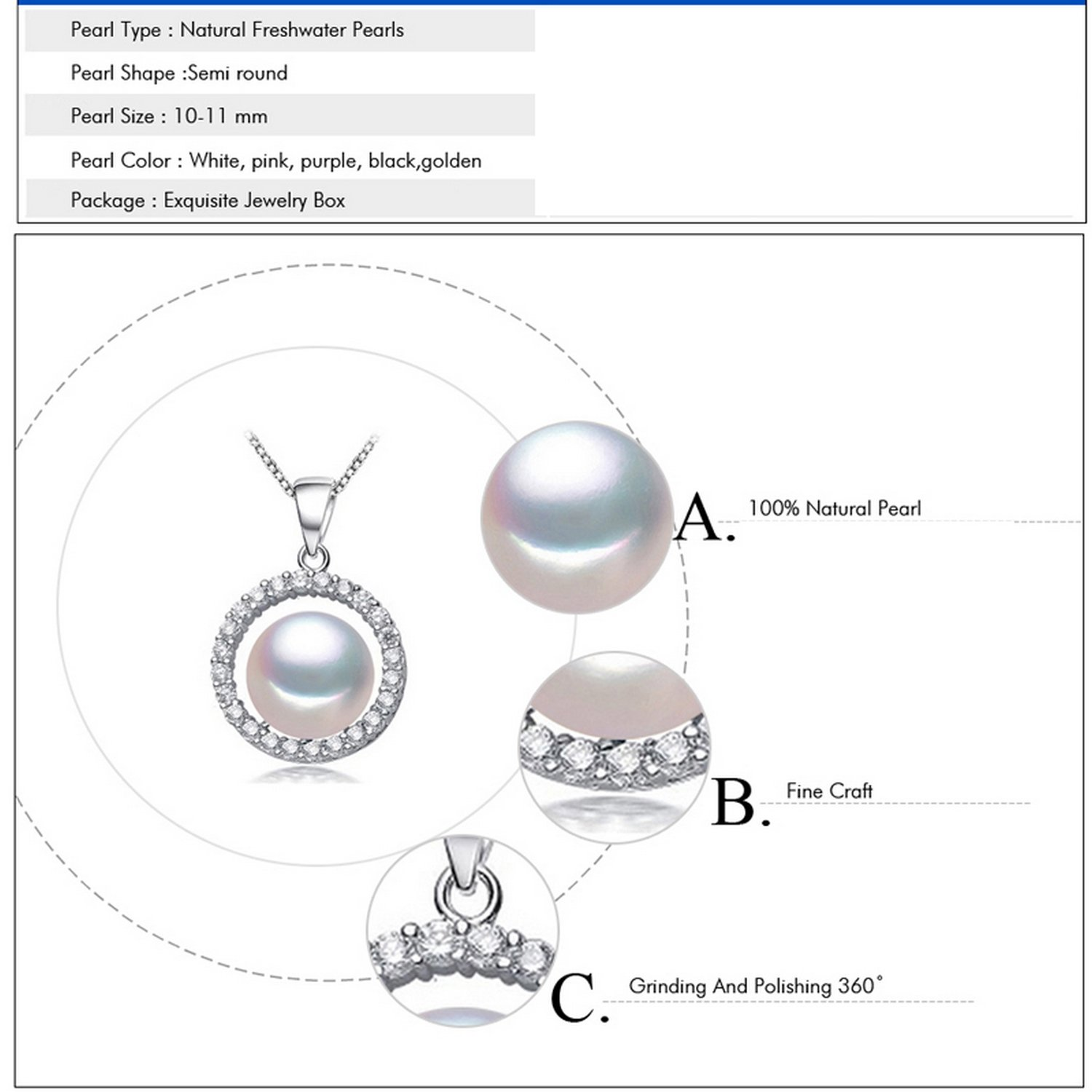 CS-DB Jewelry Silver White Pearl Chain Charm Pendants Necklaces