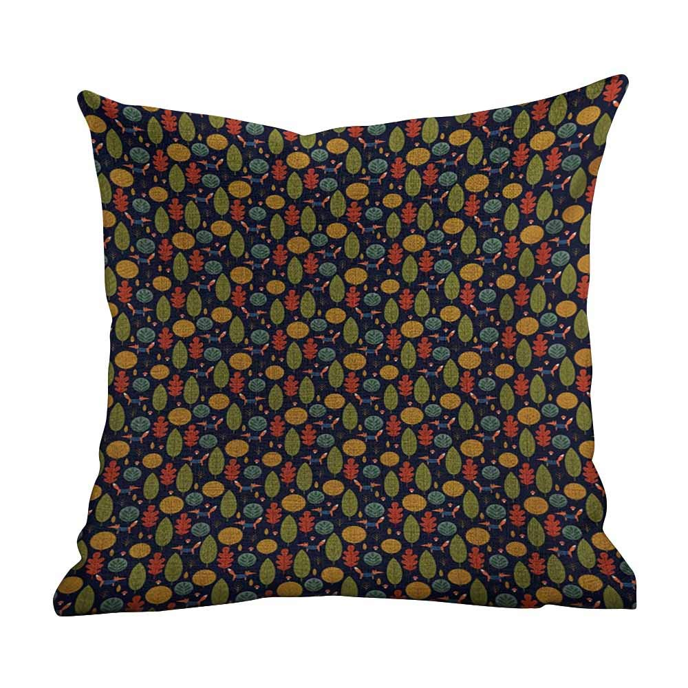 """Decrotive Pillow Covers Forest,Fall Trees Mushroom and Fox with Formal Attire Funny Jungle Cartoon Flora Fauna,Multicolor,Decorations Sofa Throw Pillow Case Cushion Cover One Sided Printed 18""""x18""""inch"""