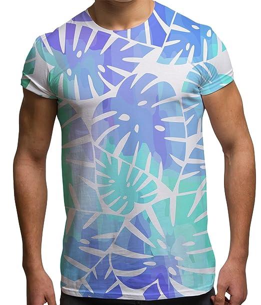 Camisetas Totalmente Impresas por sublimación para Hombre con Hojas Ropa para Festivales: Amazon.es: Ropa y accesorios