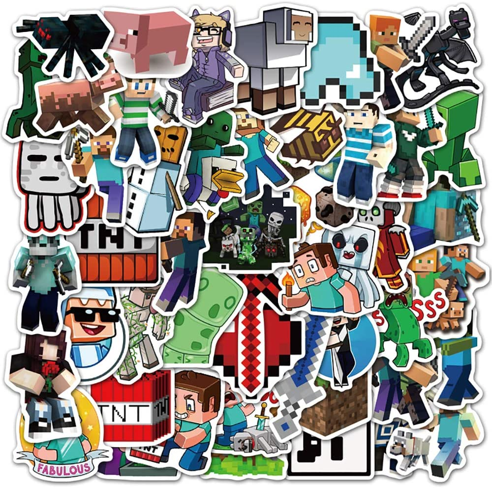 Potota Minecraft Stickers| 50 Pack |Vinyl Waterproof Stickers for Laptop,Bumper,Water Bottles,Computer,Phone,Hard hat,Car Stickers and Decals,Minecraft Stickers for Laptop(Minecraft-50)