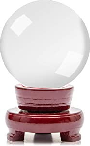 Juvale Clear Crystal Ball, K9 Glass Sphere with Wood Stand, Desk or Table Decor (3 in)
