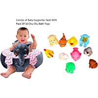 Besties Combo of Cotton Toddlers Training Seat Baby Safety Sofa Dining Chair/Learn to Sit Stool, 3-12 Months with Pack of 10 Chu Chu Bath Toys