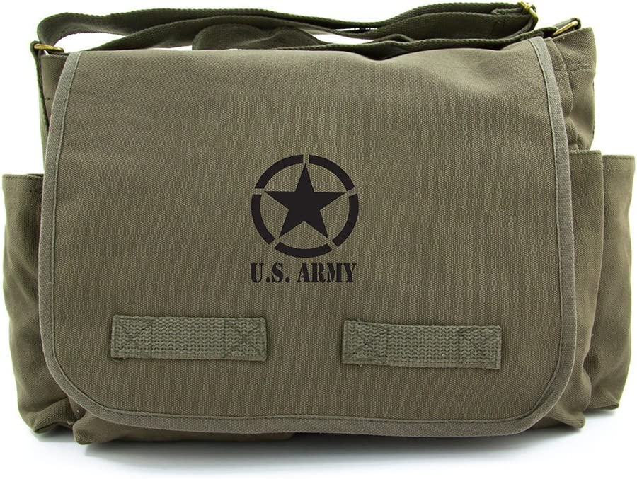 U.S. Army Star Military Heavyweight Canvas Messenger Shoulder Bag in Olive Black