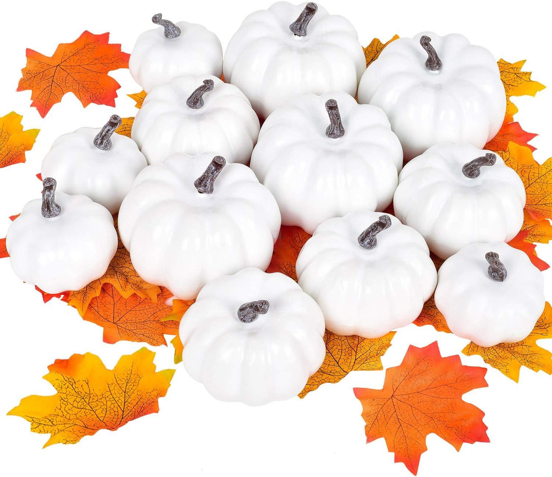 Artiflr 62 Pieces Artificial Harvest Pumpkins Decoration Set, Fake Fall Maple Leaves Mini White Pumpkin for Halloween Thanksgiving Autumn Festive Party Decor Supplies