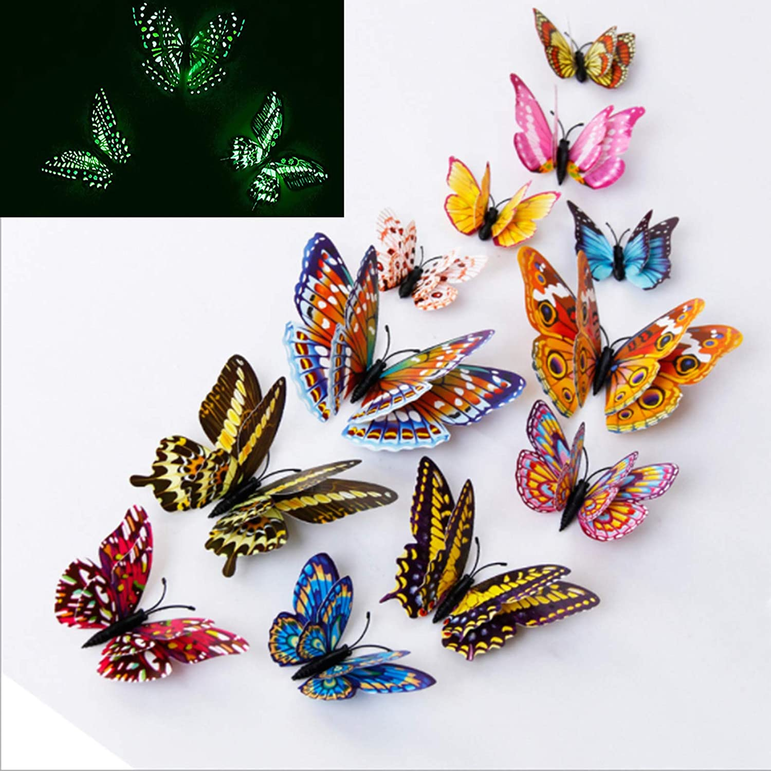 SHCHA 12 PCS Butterfly Wall Decals With Luminous Function, 3D Butterflies Removable Mural Stickers Wall Stickers Art Decal Home Decals Stickers Magnetic PVC Kids Girls Baby Women Bedroom Living Room&Garden Decor DIY Stickers