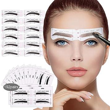 192 Pairs Of Eyebrow Stencil 12 Eyebrow Shapes Eyebrow Stickers For Beginners Beautiful Eyebrow Stencil Shaper Amazon De Beauty