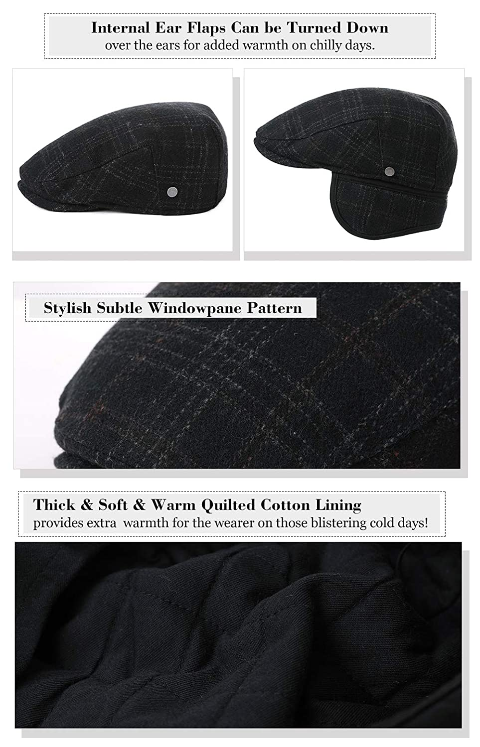 ad5da60e5bb Siggi Wool Tweed Flat Cap Ivy Hat with Ear Flaps Warmer Winter Earflap  Hunting Trapper Hat for Men  Amazon.co.uk  Clothing