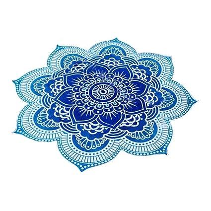 NUOLUX toalla de playa mandala tapiz de flor de loto forma exterior Roundie Hippie Gypsy Boho