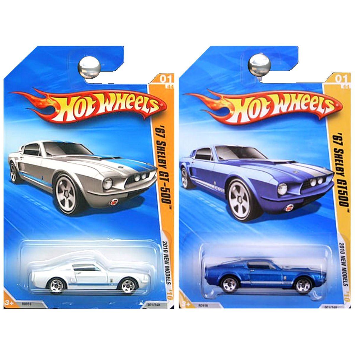 Amazon com hot wheels 2010 new models ford mustang 1967 shelby gt500 gt 500 in blue and white set of 2 toys games