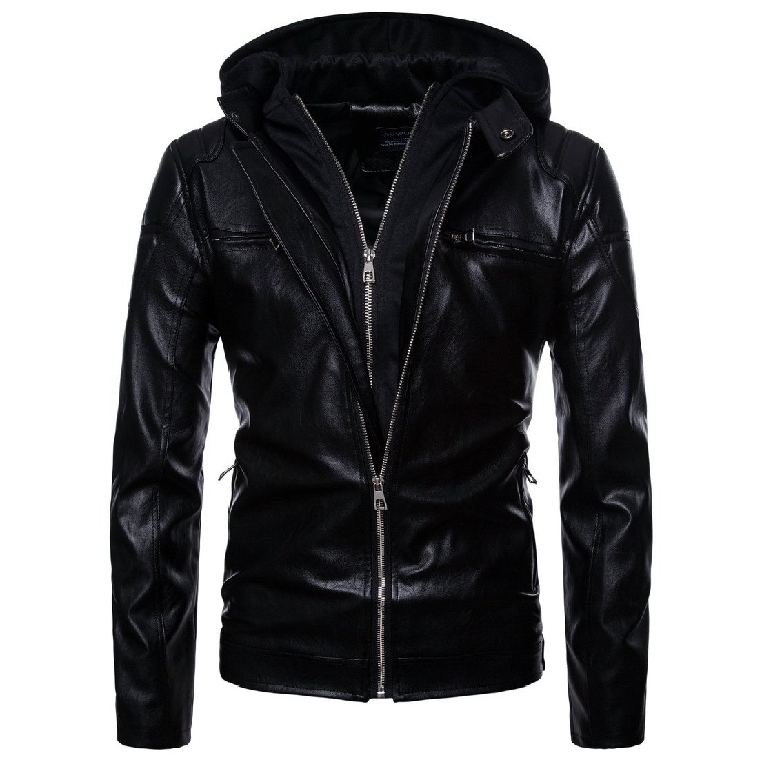 Vska Men Hooded Zip-up PU Rock Style Outwear Punk Moto Biker Jacket