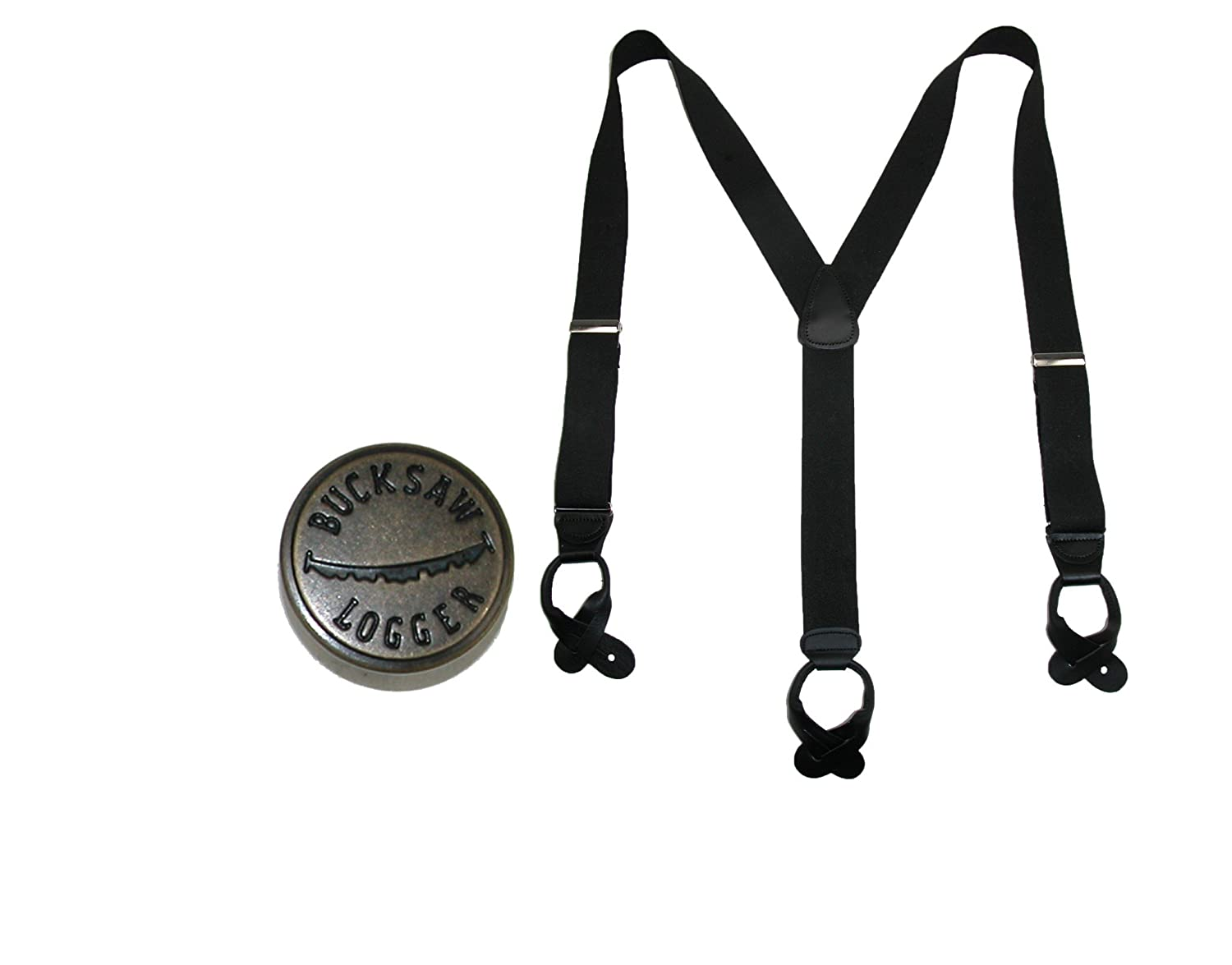 CTM Mens Elastic Button End Dress Suspender with Bachelor Buttons