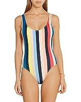Womens One-piece Beachwear Colorful Stripe High Cut Backless Swimsuit