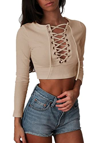 Mujeres Suéter De Punto Crop Tops Tumblr Sweater V-Cuello Manga Larga De La Camiseta Con Cordones Je...