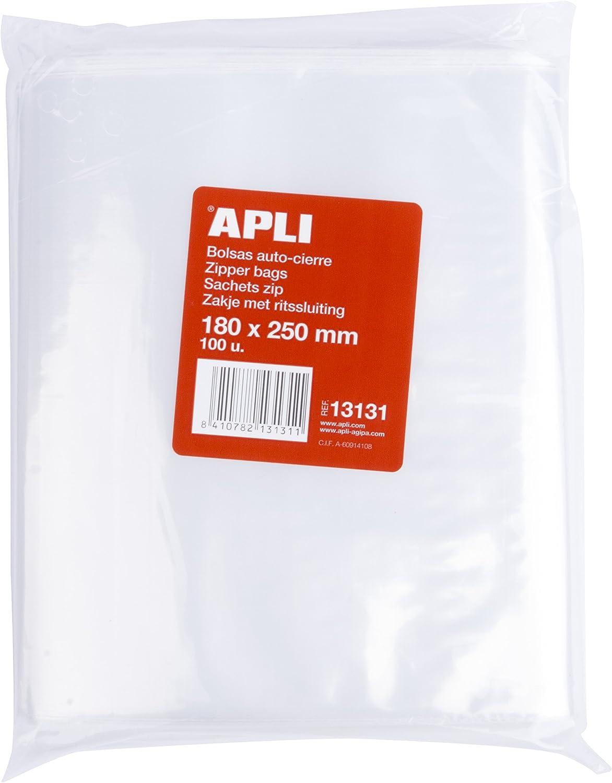 APLI 13131 - Pack de 100 bolsas de plástico con autocierre, 180 x 250 mm