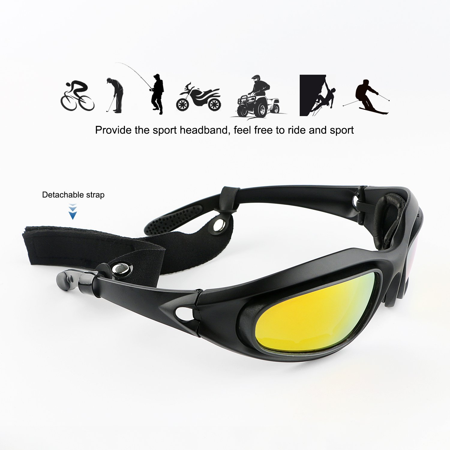 a8e18db7421 Tongshop Polarized Motorcycle Riding Glasses UV400 Bicycle Safety Goggles  Eyes protection Black Frame with 4 Pairs Lenses Come with a Balaclava  Tactical ...