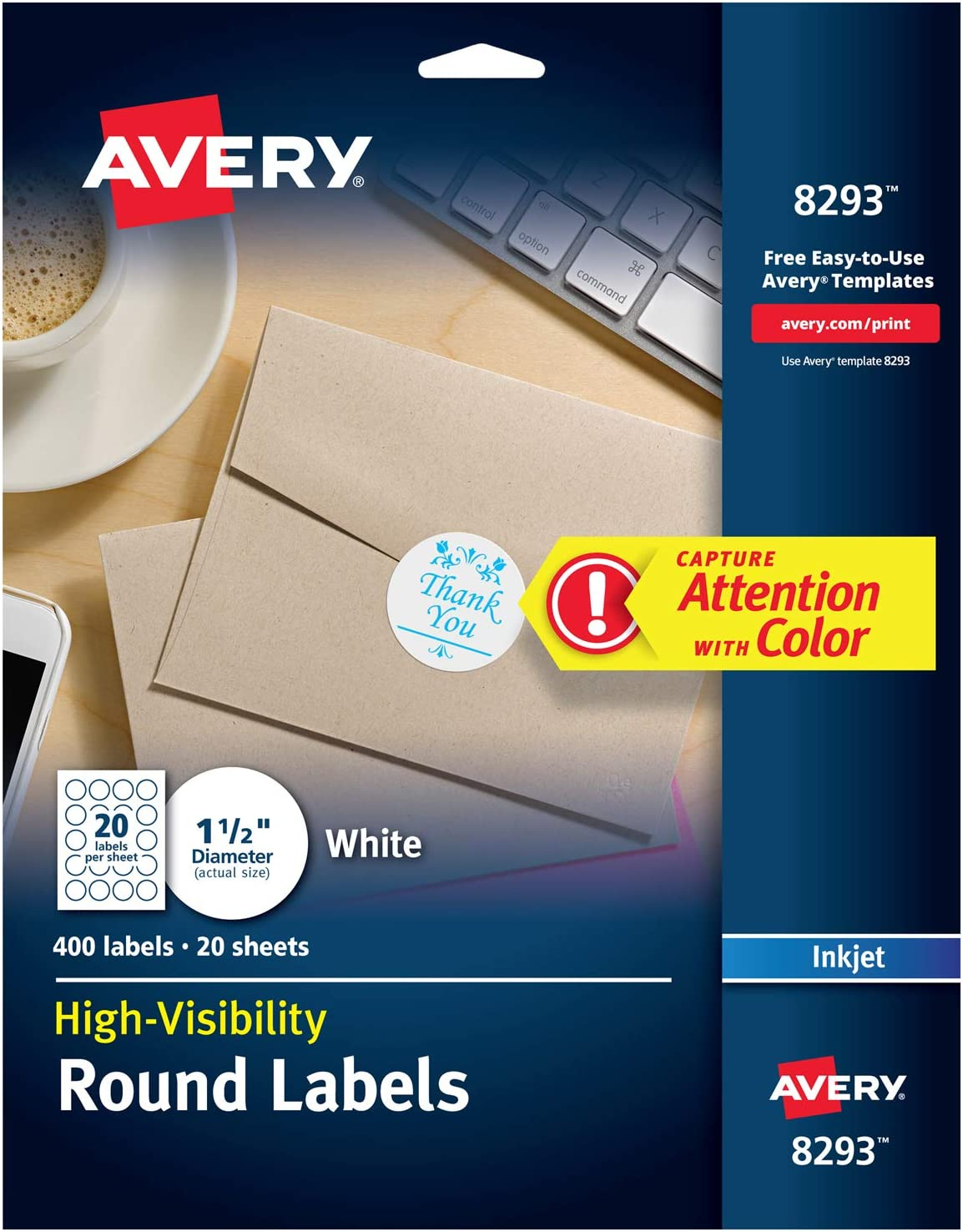 Avery White Round Labels with Sure Feed, 1.5