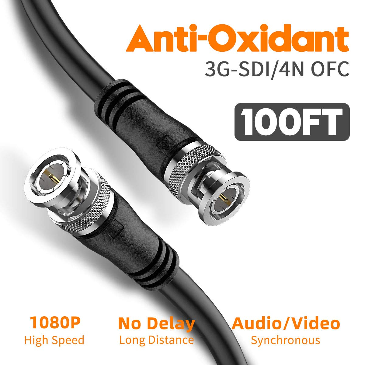 SDI Cable 100ft, BIFALE 3G HD-SDI Cable, Heavy Duty BNC to BNC Cable 75 Ohm, 1080P for Video Security Camera CCTV Systems Video Coaxial Cable by BIFALE