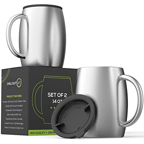 Amazoncom Stainless Steel Insulated Coffee Mugs Set Of 2 14oz