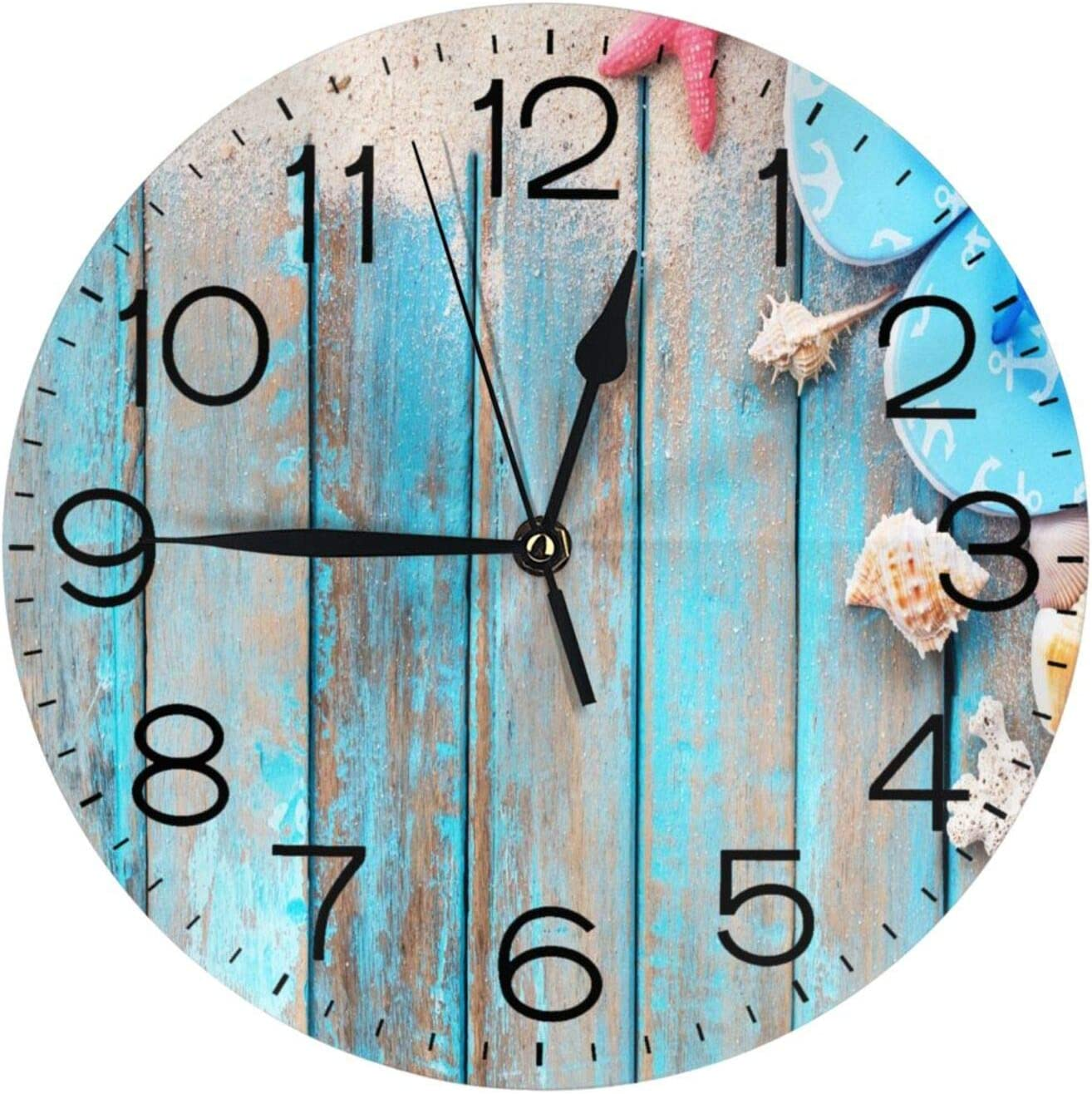 """N/W Conch On The Beach Board Wall Clock 10"""" Round,- Battery Operated Wall Clock Clocks for Home Decor Living Room Kitchen Bedroom Office School"""