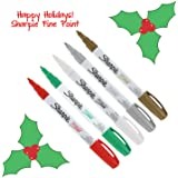 Sharpe Oil-Based Paint Markers, Fine Point, Pack of 5 - Christmas Holiday Colors
