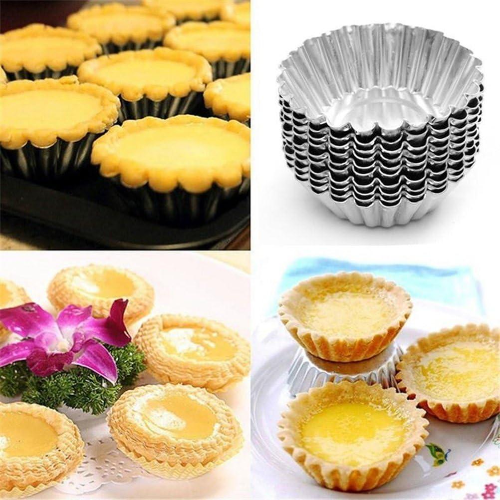 BESTONZON 30 unids Tarta de Huevo Molde Antiadherente de Aluminio Cupcake Cake Cookie Pudding Esta/ño Molde Forrado Molde Esta/ño Herramienta de La Hornada