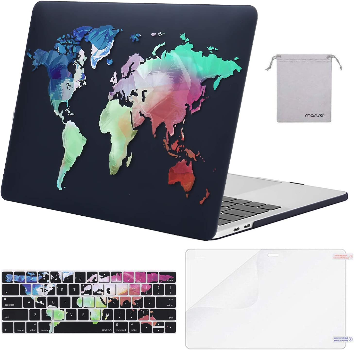 MOSISO Compatible with MacBook Pro 13 inch Case 2019 2018 2017 2016 Release A2159 A1989 A1706 A1708, Plastic Pattern Hard Shell Case&Keyboard Cover Skin&Screen Protector&Storage Bag, Black World Map