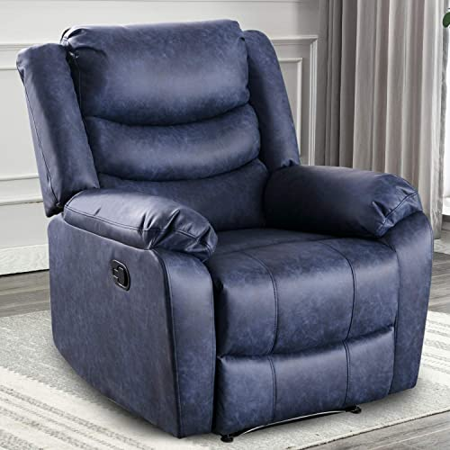 ANJ HOME Recliner Chair with Overstuffed Arm and Back for Living Room, Classic Recliner Single Sofa Home Theater Seating, Navy