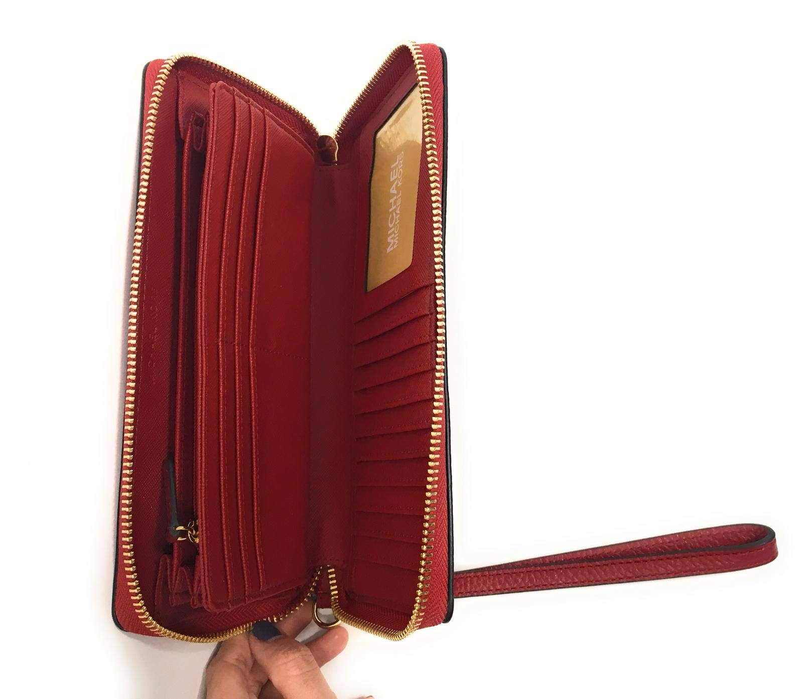 Michael Kors Jet Set Travel Continental Zip Around Leather Wallet Wristlet (Scarlet) by Michael Kors (Image #3)