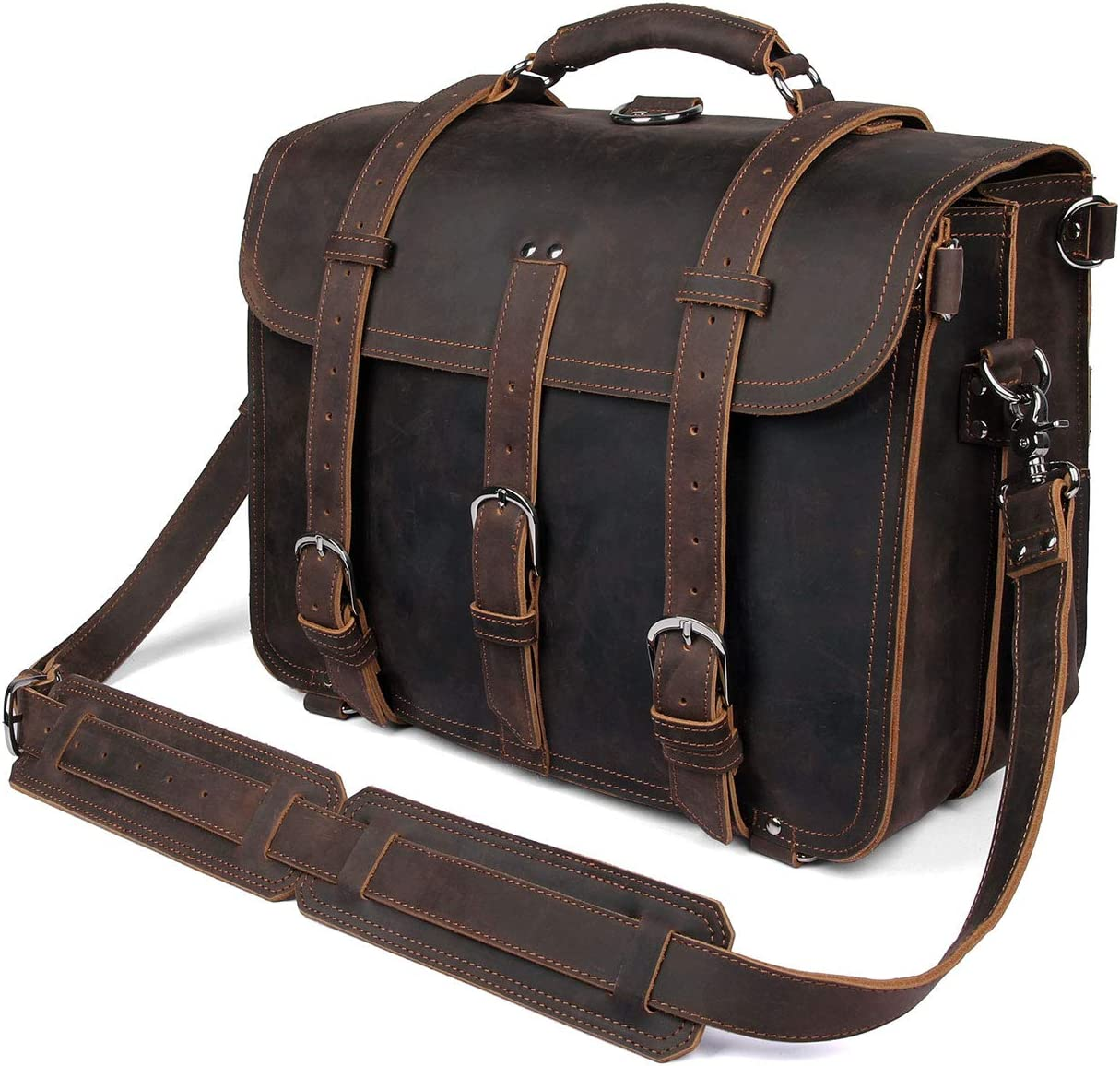 Texbo Men s Thick Cowhide Leather 16 Inch Laptop Shoulder Messenger Bag Briefcase Tote