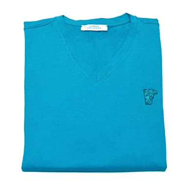 7662ab2c5 Amazon.com: Versace Collection Men's Sky Blue Medusa Logo V-neck T ...