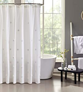 "Tahari Home | Grace Bath Collection | Modern Heavyweight Shower Curtain, Mildew and Mold Resistant Anti-Microbial Stylish with Tufted Ombre Dot Print, 72""x72"", White"