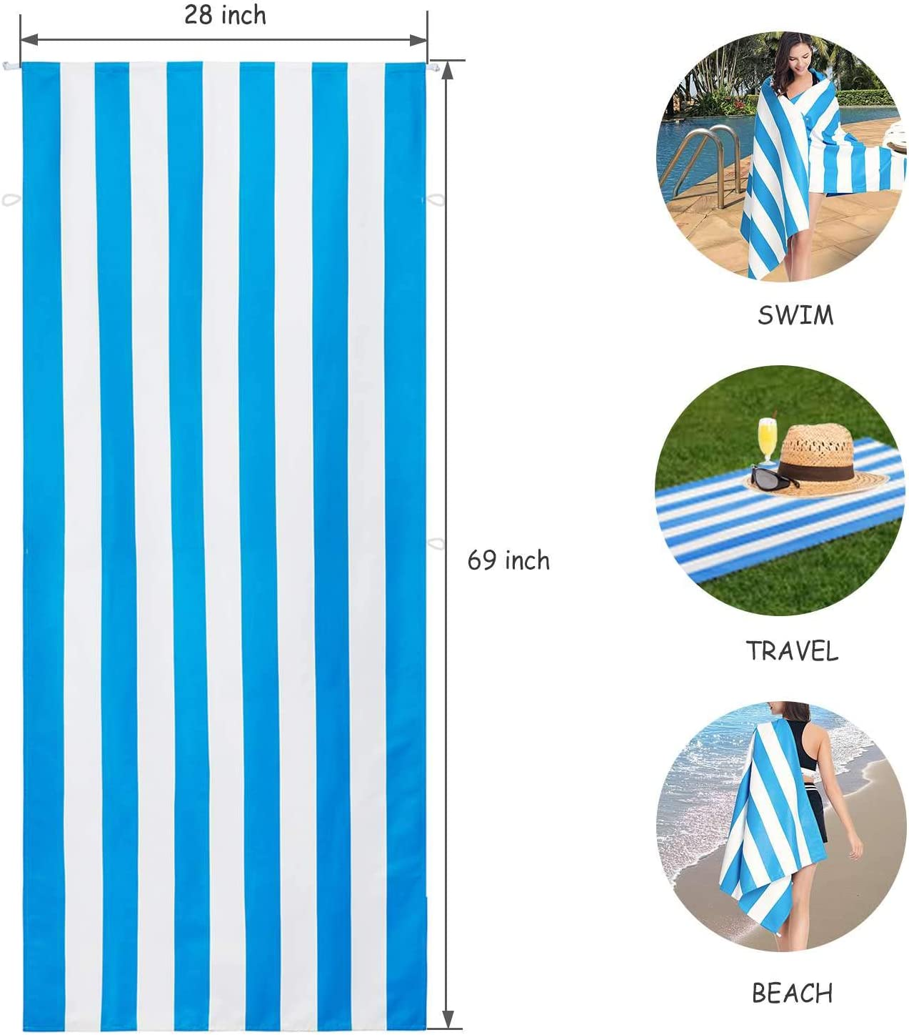 Aegend Fixable Quick-Dry Microfiber Beach Towel for Travel /& Sports Large Travelling Oversized 28 x 69 Portative Lightweight Pool Towel for Swimming Skin- Friendly Odor-Free Camping Towel