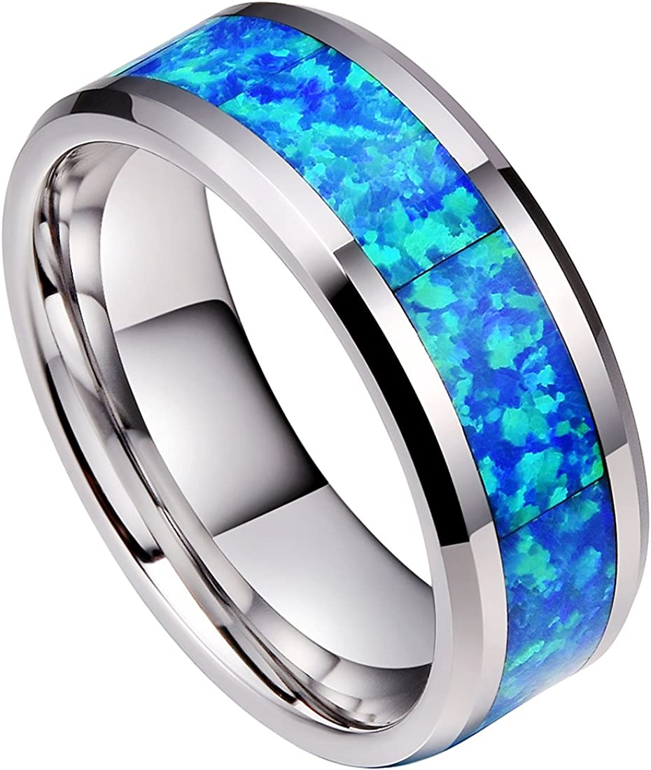 DOUX 8mm Real Blue/Red Opal Inlay Mens Tungsten Carbide Ring Silver Tone Wedding Band Comfort Fit High Polished