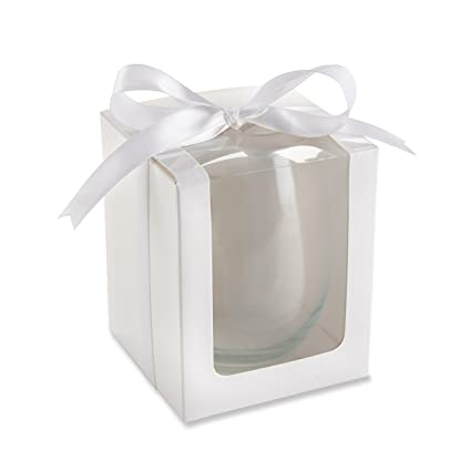 Kate Aspen Gift Boxes For Stemless Wine Glass 9 Ounce White Set Of 12